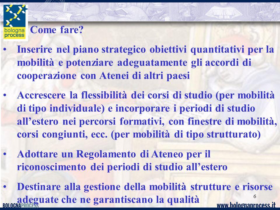 6 Come fare? Inserire nel piano strategico obiettivi quantitativi per la mobilità e potenziare adeguatamente gli accordi di cooperazione con Atenei di