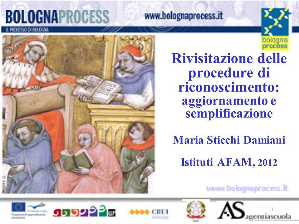 1 www.bolognaprocess.i t Rivisitazione delle procedure di riconoscimento: aggiornamento e semplificazione Maria Sticchi Damiani Istituti AFAM, 2012