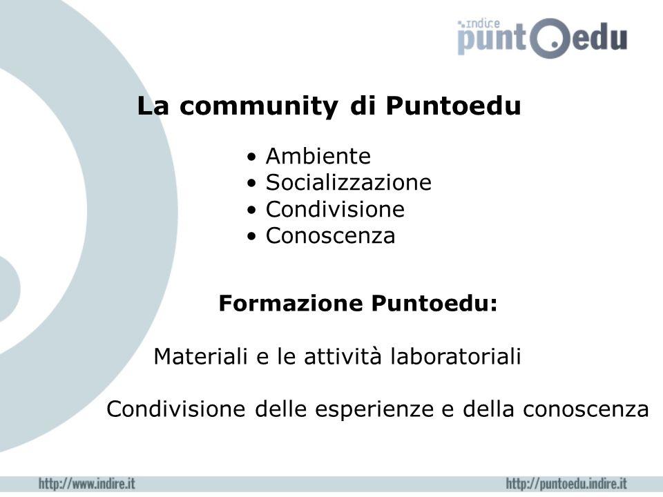 La community di Puntoedu Formazione Puntoedu: Materiali e le attività laboratoriali Condivisione delle esperienze e della conoscenza Ambiente Socializzazione Condivisione Conoscenza