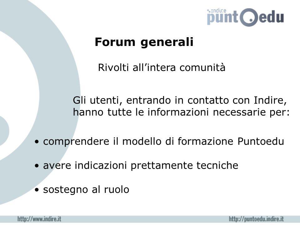 Forum generali Rivolti allintera comunità comprendere il modello di formazione Puntoedu avere indicazioni prettamente tecniche sostegno al ruolo Gli u