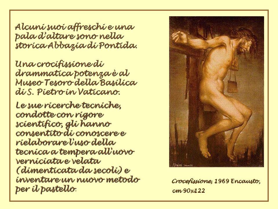 Alcuni suoi affreschi e una pala daltare sono nella storica Abbazia di Pontida. Una crocifissione di drammatica potenza è al Museo Tesoro della Basili
