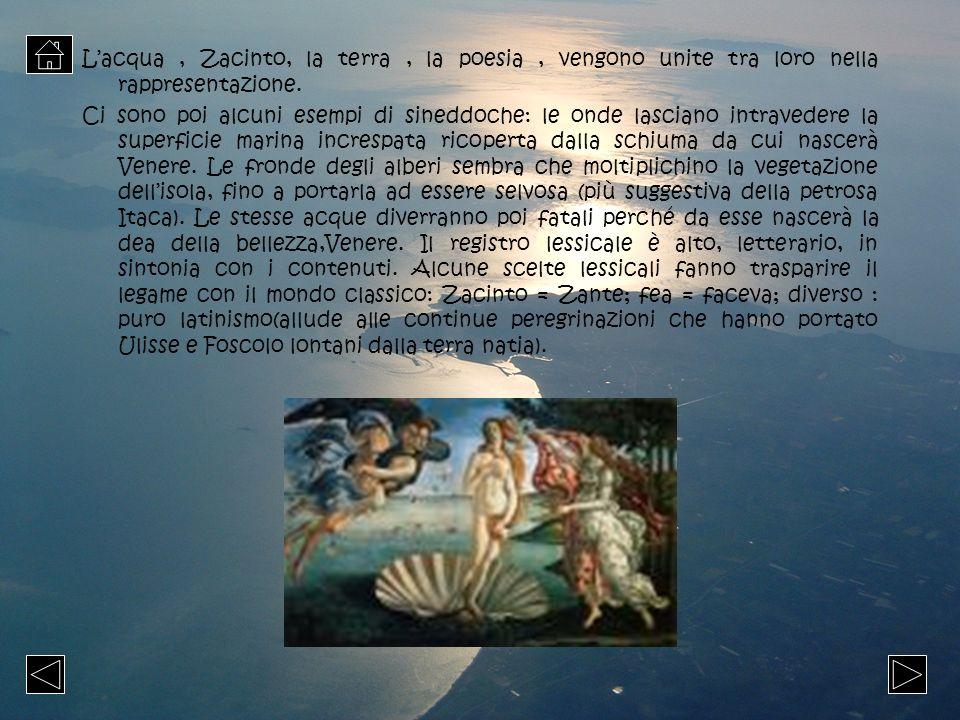 Lacqua, Zacinto, la terra, la poesia, vengono unite tra loro nella rappresentazione. Ci sono poi alcuni esempi di sineddoche: le onde lasciano intrave