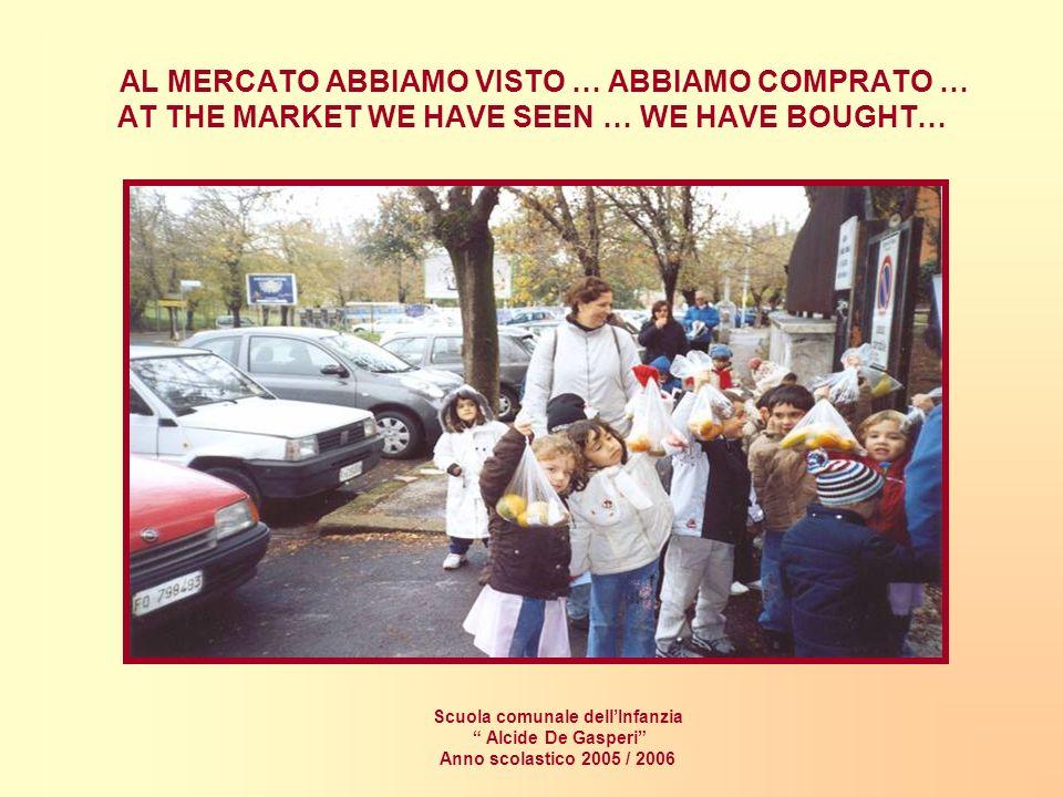 AL MERCATO ABBIAMO VISTO … ABBIAMO COMPRATO … AT THE MARKET WE HAVE SEEN … WE HAVE BOUGHT… Scuola comunale dellInfanzia Alcide De Gasperi Anno scolastico 2005 / 2006