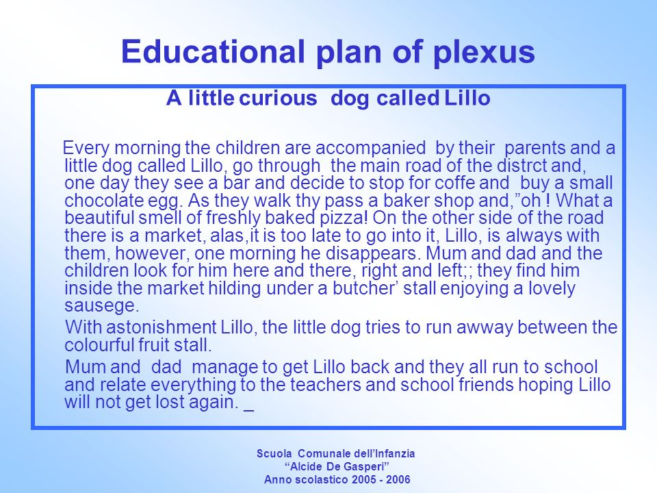 Educational plan of plexus A little curious dog called Lillo Every morning the children are accompanied by their parents and a little dog called Lillo, go through the main road of the distrct and, one day they see a bar and decide to stop for coffe and buy a small chocolate egg.