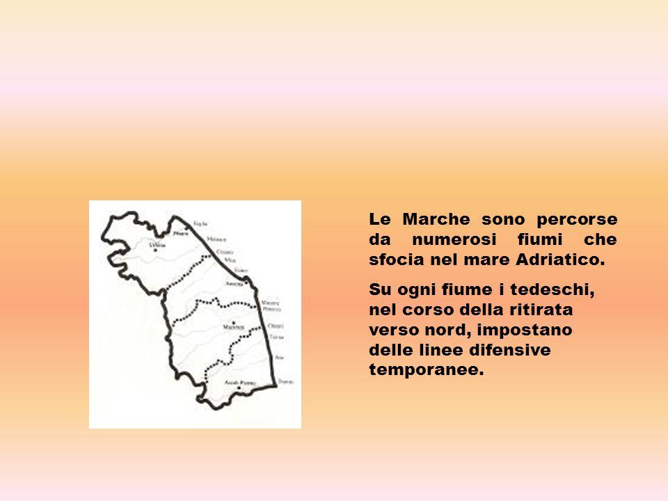 Le Marche sono percorse da numerosi fiumi che sfocia nel mare Adriatico. Su ogni fiume i tedeschi, nel corso della ritirata verso nord, impostano dell