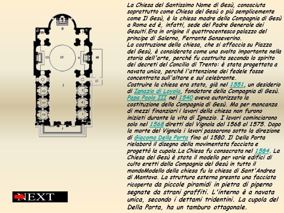 Modello della chiesa fu la chiesa di Sant Andrea di Mantova.La struttura esterna presnta una facciata ricoperta da piccole piramidi in pietra di piperno segnate da strani graffiti.