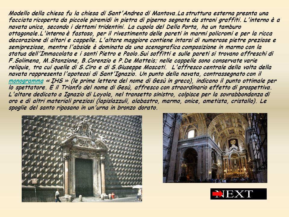 Modello della chiesa fu la chiesa di Sant'Andrea di Mantova.La struttura esterna presnta una facciata ricoperta da piccole piramidi in pietra di piper