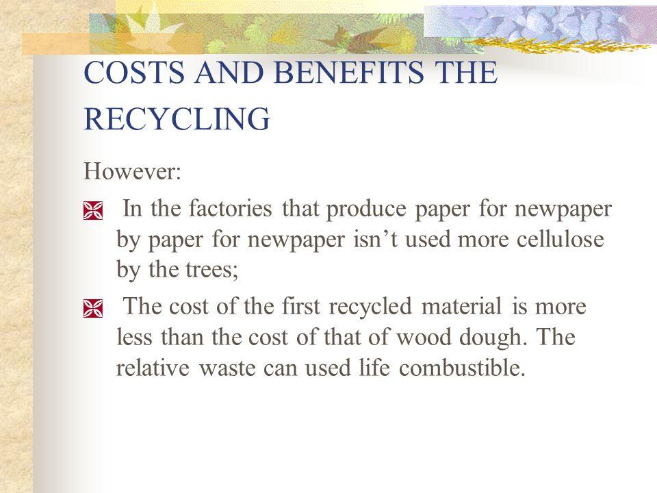 Tuttavia: nelle fabbriche che producono carta per giornali da carta da giornali riciclata non si usa più cellulosa proveniente da alberi; il costo del