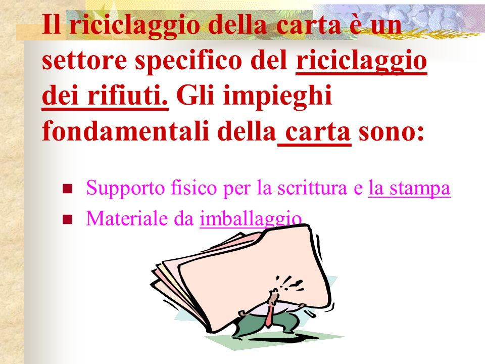 Il riciclaggio della carta è un settore specifico del riciclaggio dei rifiuti.