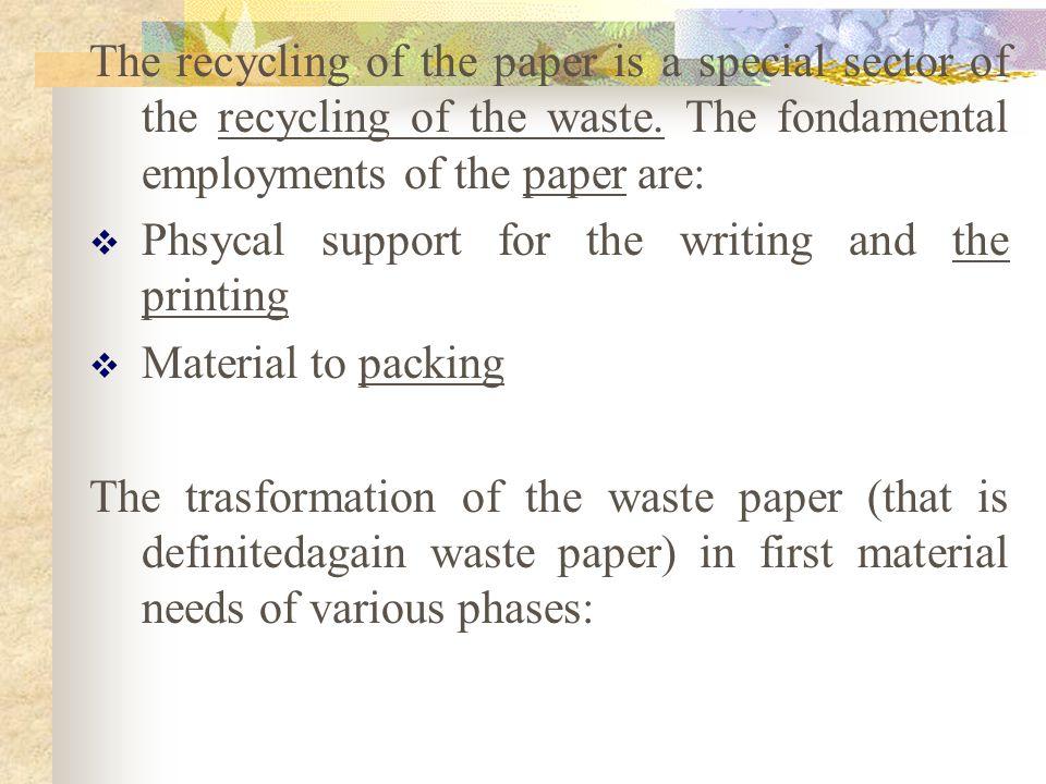 Il riciclaggio della carta è un settore specifico del riciclaggio dei rifiuti. Gli impieghi fondamentali della carta sono: Supporto fisico per la scri