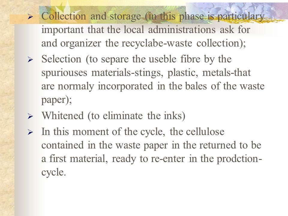La trasformazione del rifiuto cartaceo (che si definisce carta da macero) in materia prima necessita di varie fasi: raccolta e stoccaggio (in questa f