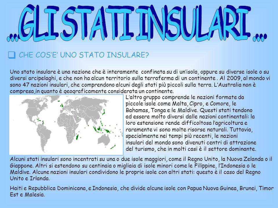Stato insulare non è necessariamente sinonimo di stato senza confini terrestri, che corrisponde ad una nazione che non ha alcuno dei suoi confini in comune con altri stati, ed è cioè interamente posta su unisola o su più isole che non sono spartite con altre nazioni.