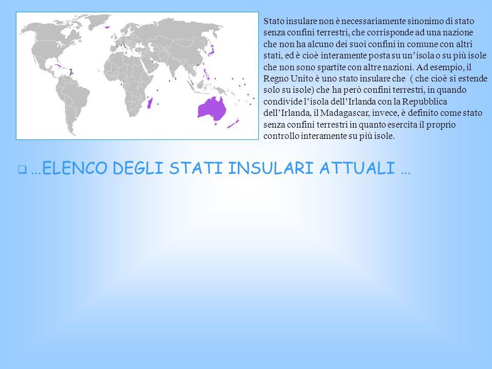 Stato insulare non è necessariamente sinonimo di stato senza confini terrestri, che corrisponde ad una nazione che non ha alcuno dei suoi confini in c