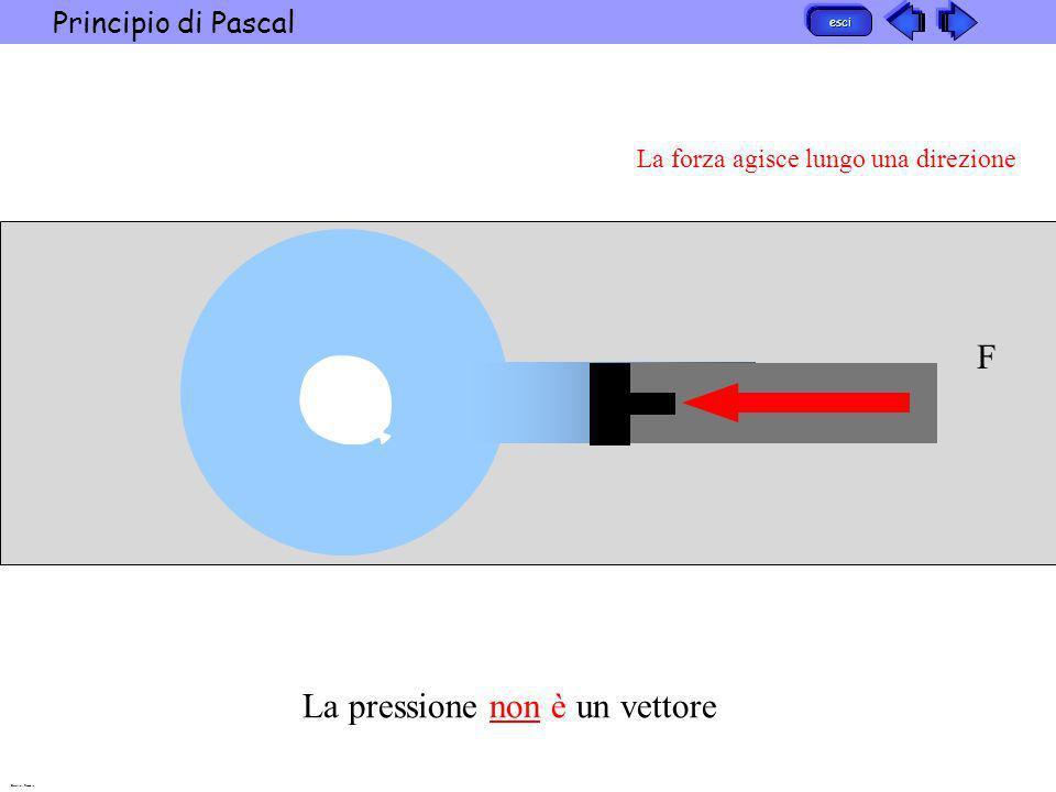 esci Principio di Pascal Barattini Recchia F La forza agisce lungo una direzione La pressione non è un vettore