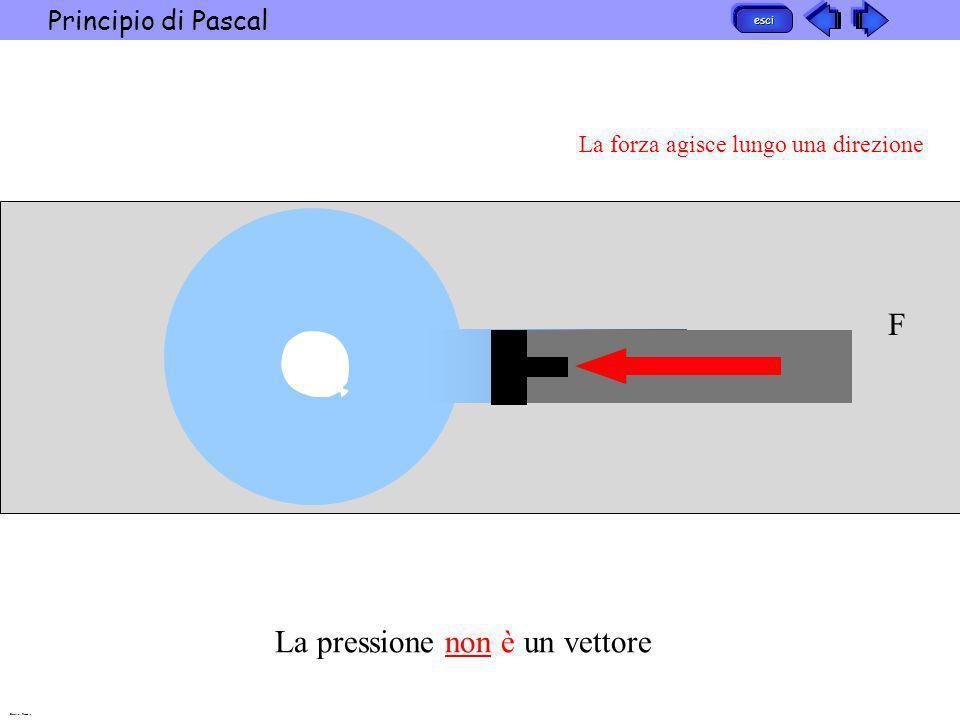 esci Principio di Pascal Barattini Recchia F La forza agisce lungo una direzione Laumento di pressione ha provocato una riduzione uniforme del palloncino