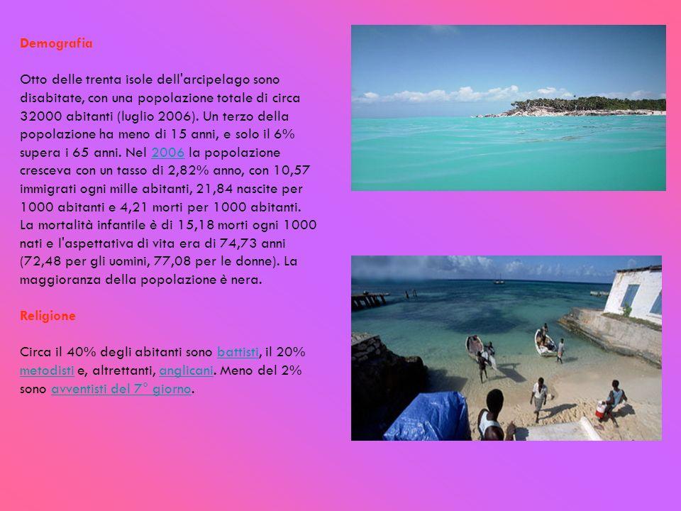 Demografia Otto delle trenta isole dell'arcipelago sono disabitate, con una popolazione totale di circa 32000 abitanti (luglio 2006). Un terzo della p