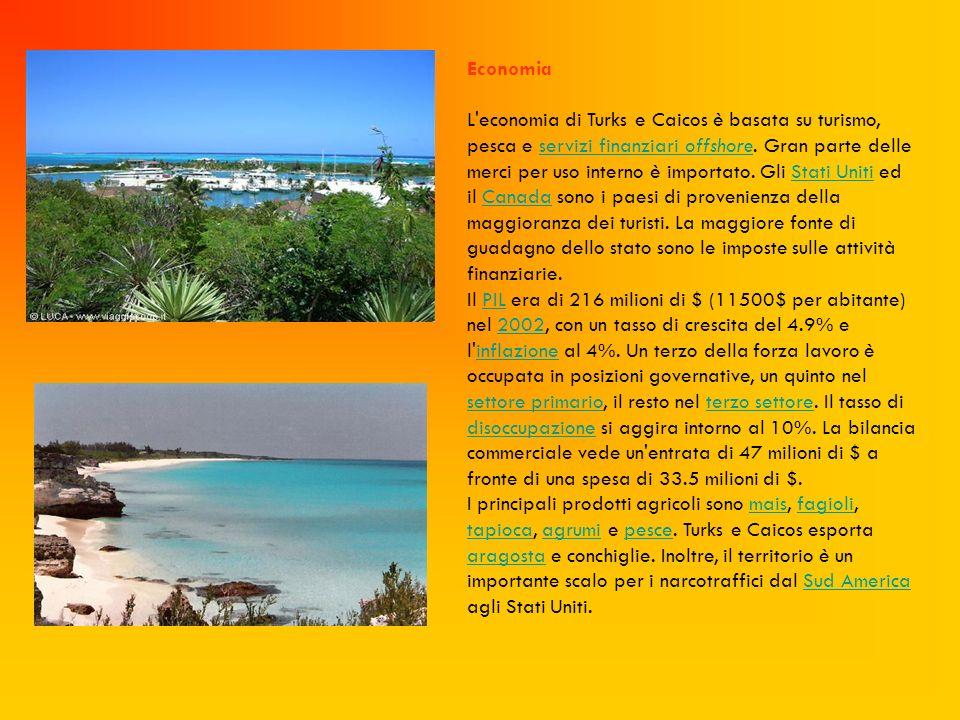Economia L'economia di Turks e Caicos è basata su turismo, pesca e servizi finanziari offshore. Gran parte delle merci per uso interno è importato. Gl