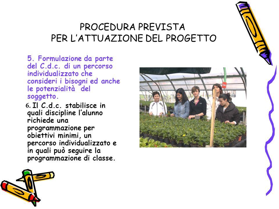 PROCEDURA PREVISTA PER LATTUAZIONE DEL PROGETTO 5.