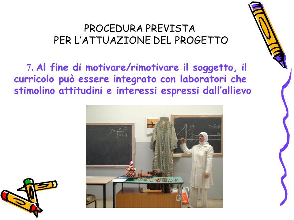 PROCEDURA PREVISTA PER LATTUAZIONE DEL PROGETTO 7.