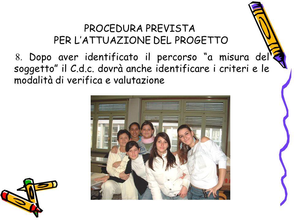 PROCEDURA PREVISTA PER LATTUAZIONE DEL PROGETTO 8.
