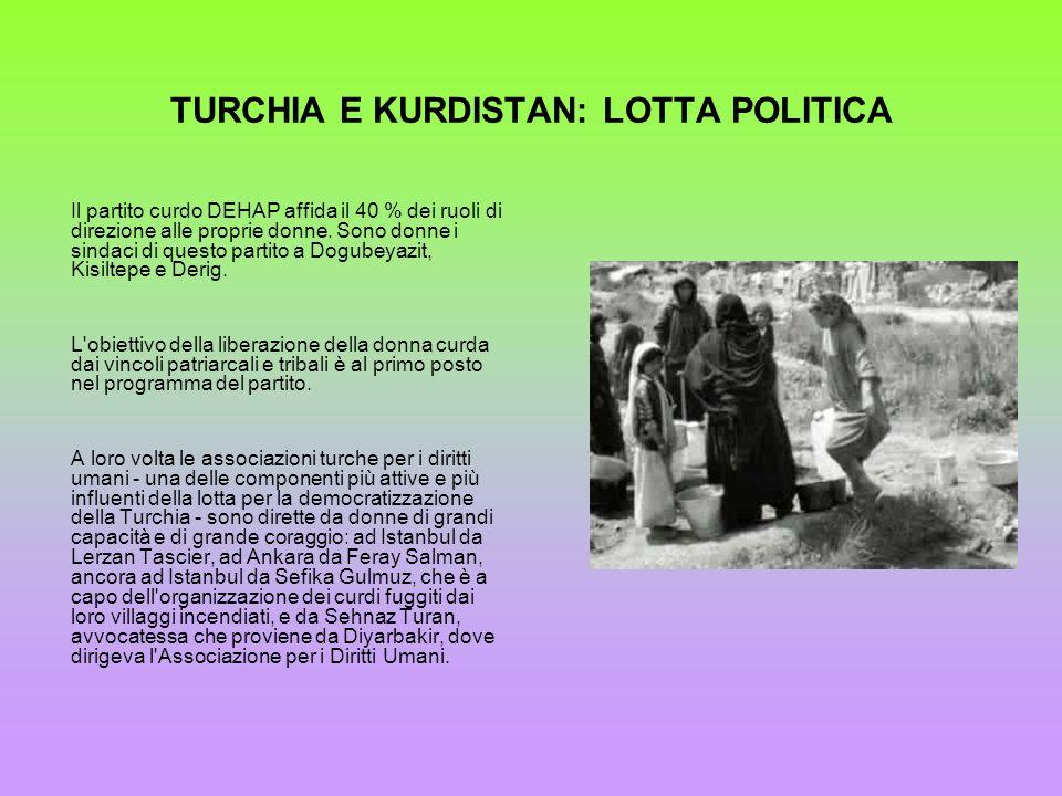 TURCHIA E KURDISTAN: LOTTA POLITICA Il partito curdo DEHAP affida il 40 % dei ruoli di direzione alle proprie donne. Sono donne i sindaci di questo pa