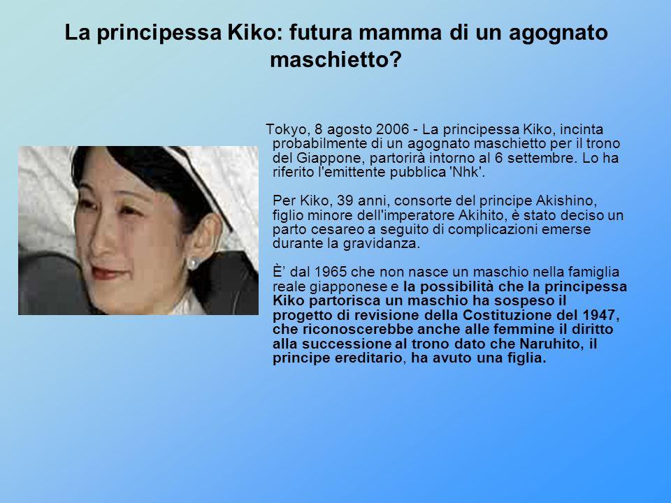 La principessa Kiko: futura mamma di un agognato maschietto? Tokyo, 8 agosto 2006 - La principessa Kiko, incinta probabilmente di un agognato maschiet