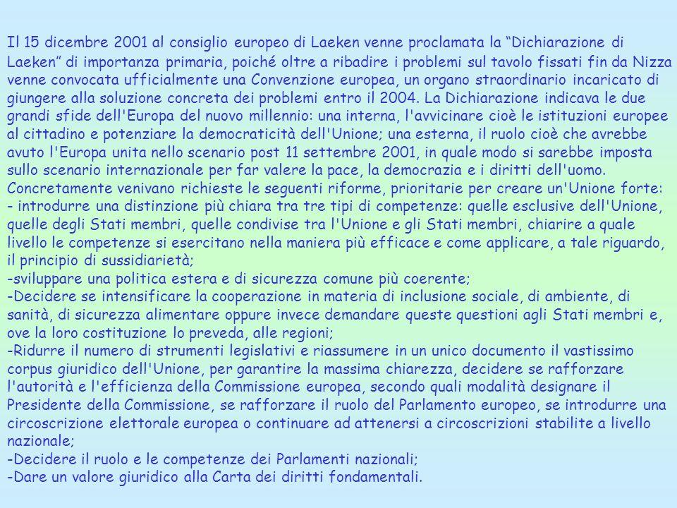 Il 15 dicembre 2001 al consiglio europeo di Laeken venne proclamata la Dichiarazione di Laeken di importanza primaria, poiché oltre a ribadire i probl