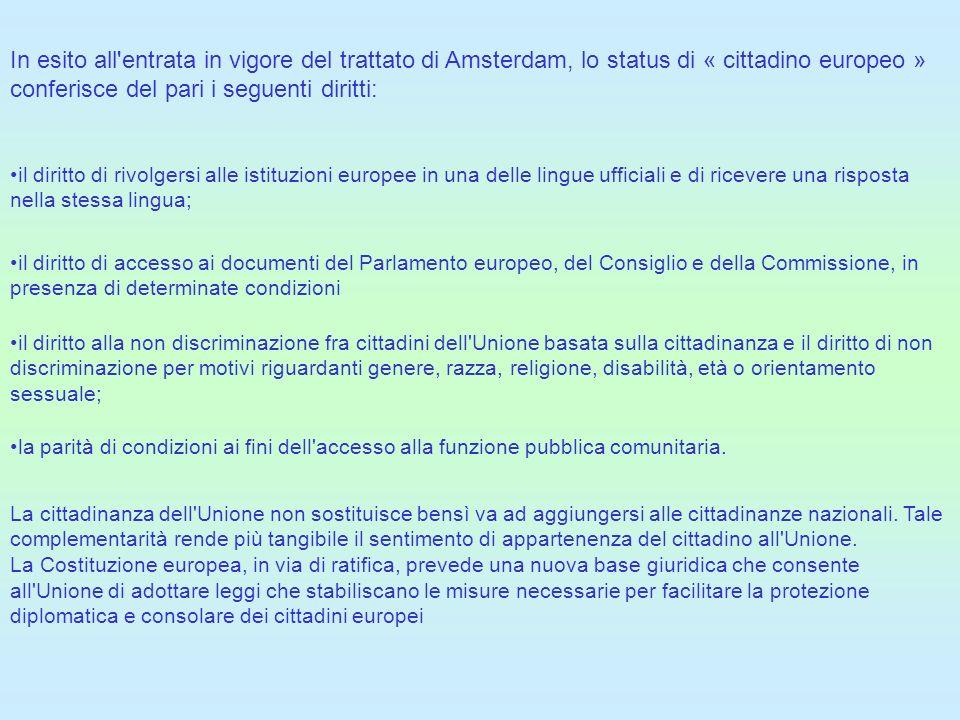In esito all'entrata in vigore del trattato di Amsterdam, lo status di « cittadino europeo » conferisce del pari i seguenti diritti: il diritto di riv