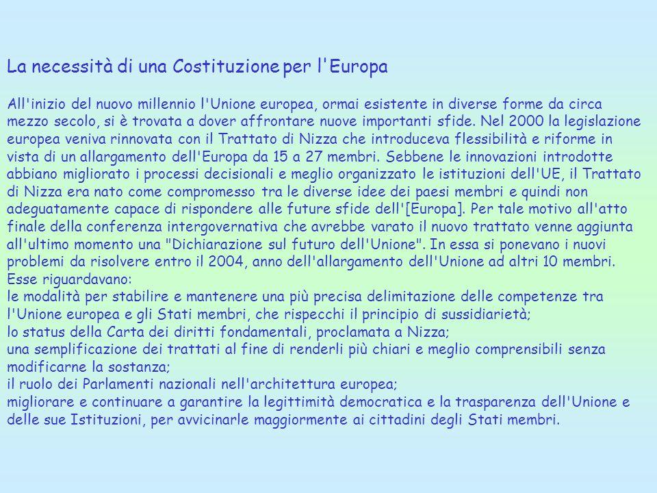 La necessità di una Costituzione per l'Europa All'inizio del nuovo millennio l'Unione europea, ormai esistente in diverse forme da circa mezzo secolo,