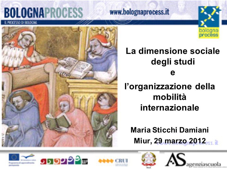 La dimensione sociale degli studi e lorganizzazione della mobilità internazionale Maria Sticchi Damiani Miur, 29 marzo 2012