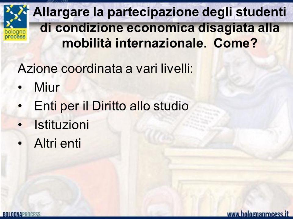 Allargare la partecipazione degli studenti di condizione economica disagiata alla mobilità internazionale. Come? Azione coordinata a vari livelli: Miu