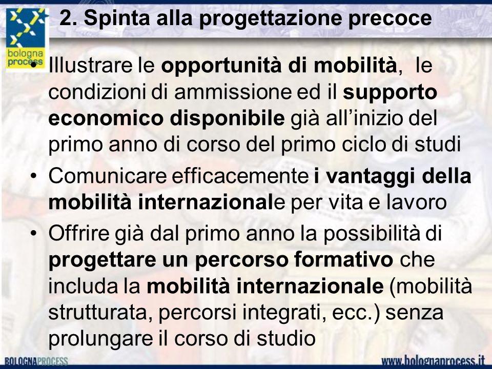 2. Spinta alla progettazione precoce Illustrare le opportunità di mobilità, le condizioni di ammissione ed il supporto economico disponibile già allin