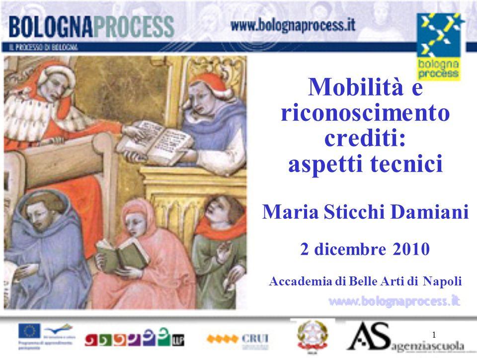 1 www.bolognaprocess.i t Mobilità e riconoscimento crediti: aspetti tecnici Maria Sticchi Damiani 2 dicembre 2010 Accademia di Belle Arti di Napoli