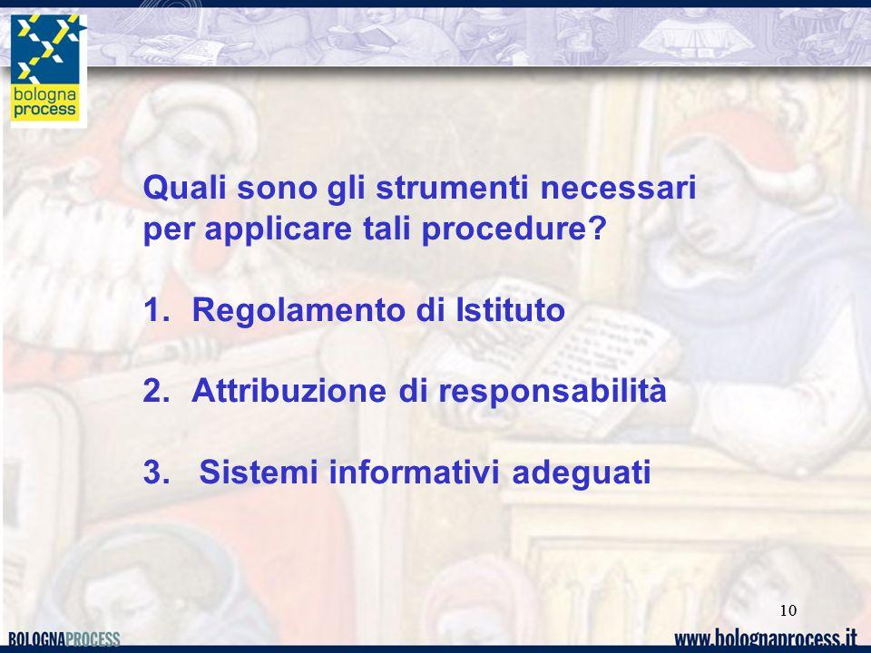 10 Quali sono gli strumenti necessari per applicare tali procedure.