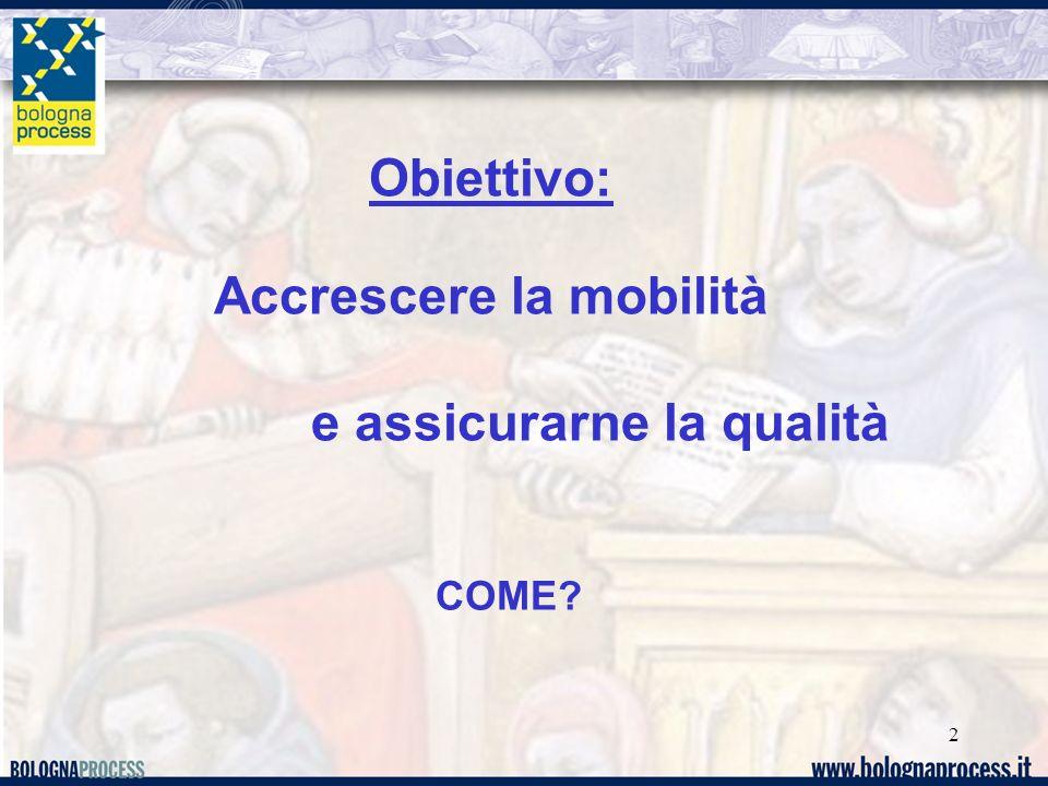 2 Obiettivo: Accrescere la mobilità e assicurarne la qualità COME