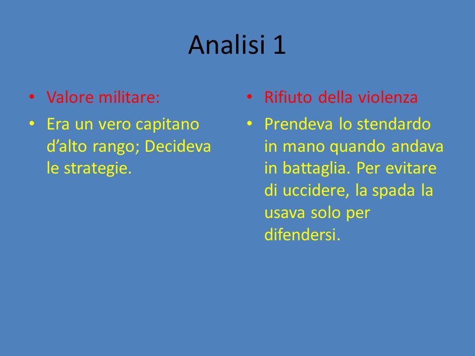 Analisi 1 Valore militare: Era un vero capitano dalto rango; Decideva le strategie.