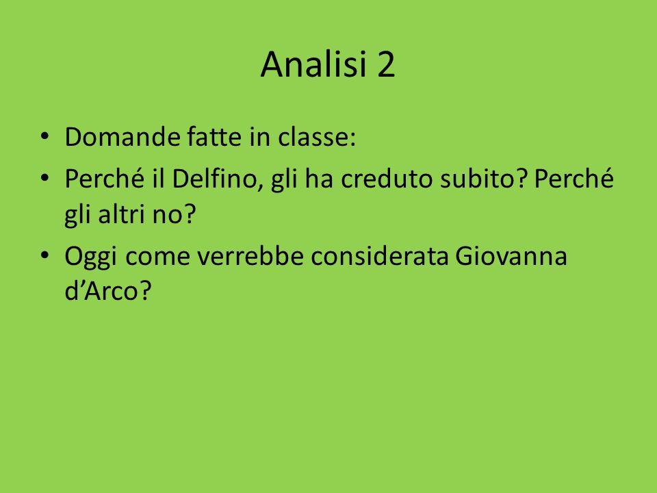 Analisi 2 Domande fatte in classe: Perché il Delfino, gli ha creduto subito? Perché gli altri no? Oggi come verrebbe considerata Giovanna dArco?
