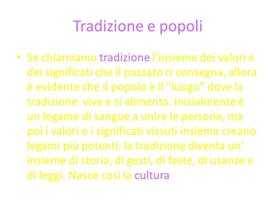 Tradizione e popoli Se chiamiamo tradizione linsieme dei valori e dei significati che il passato ci consegna, allora è evidente che il popolo è il luogo dove la tradizione vive e si alimenta.
