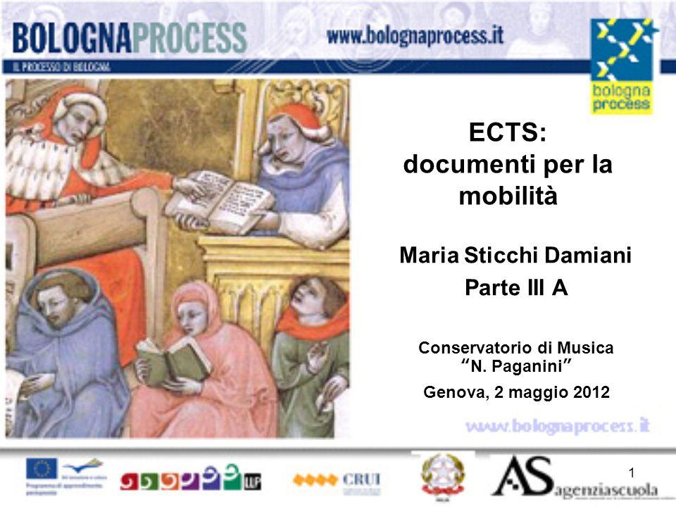 ECTS: documenti per la mobilità Maria Sticchi Damiani Parte III A Conservatorio di MusicaN.