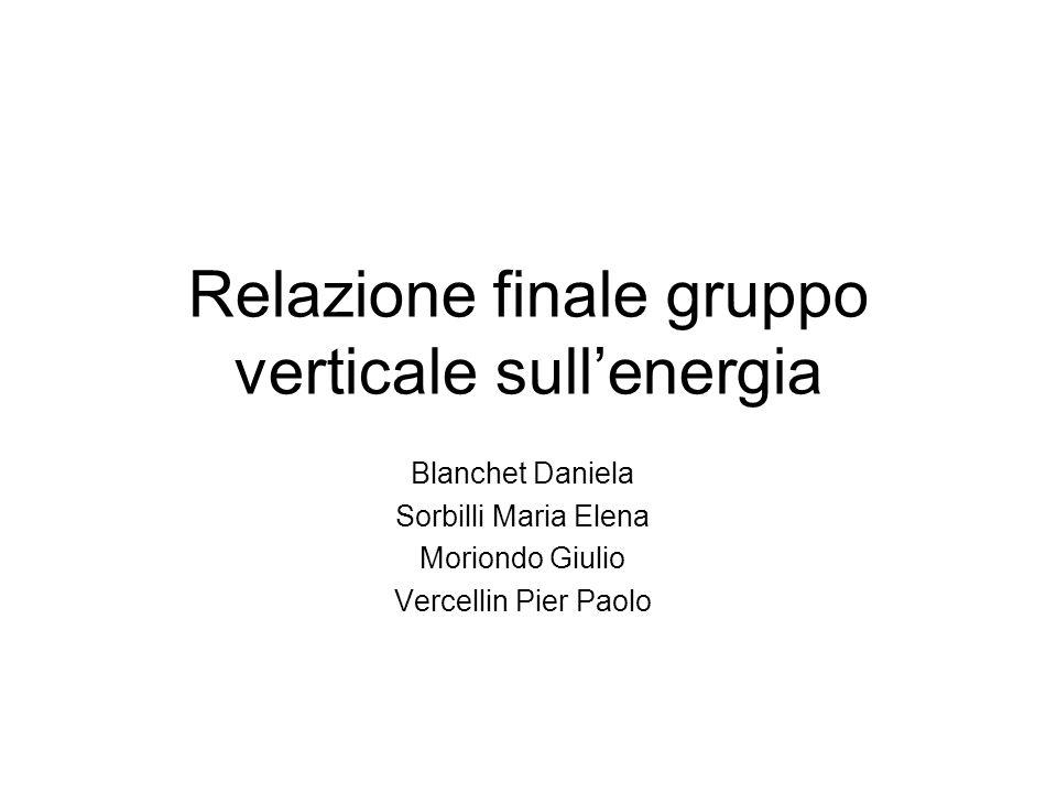 Relazione finale gruppo verticale sullenergia Blanchet Daniela Sorbilli Maria Elena Moriondo Giulio Vercellin Pier Paolo