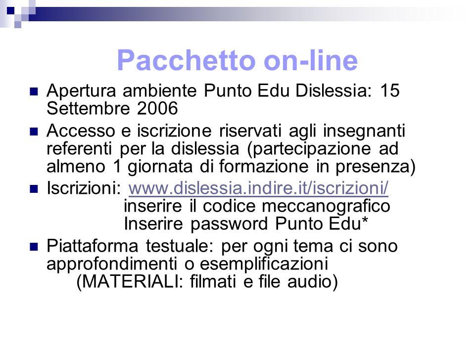 Pacchetto on-line Apertura ambiente Punto Edu Dislessia: 15 Settembre 2006 Accesso e iscrizione riservati agli insegnanti referenti per la dislessia (