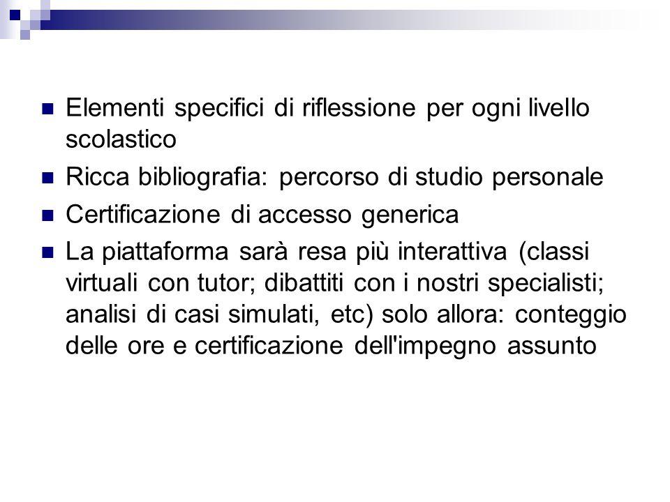 Elementi specifici di riflessione per ogni livello scolastico Ricca bibliografia: percorso di studio personale Certificazione di accesso generica La p