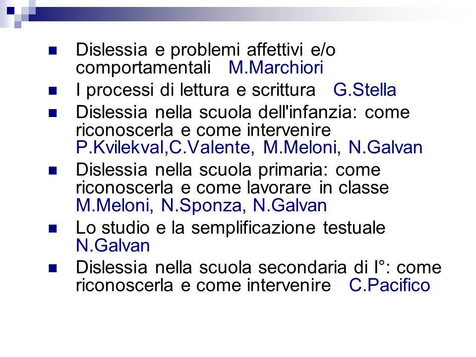 Dislessia e problemi affettivi e/o comportamentali M.Marchiori I processi di lettura e scrittura G.Stella Dislessia nella scuola dell'infanzia: come r