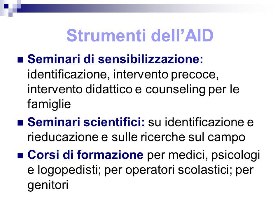 Strumenti dellAID Seminari di sensibilizzazione: identificazione, intervento precoce, intervento didattico e counseling per le famiglie Seminari scien