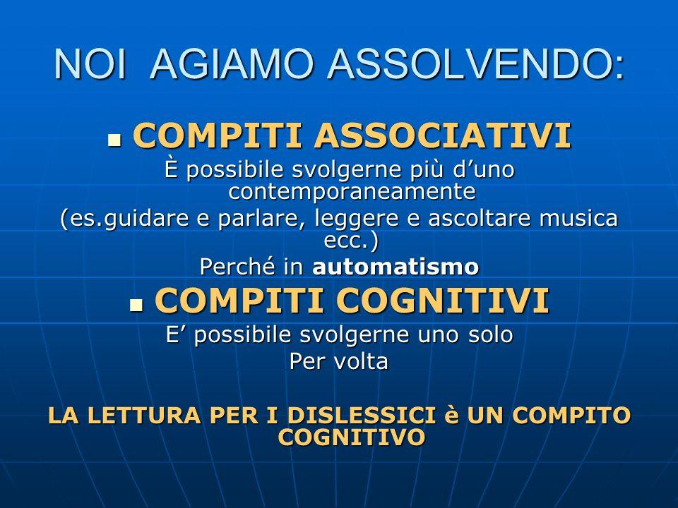 NOI AGIAMO ASSOLVENDO: COMPITI ASSOCIATIVI COMPITI ASSOCIATIVI È possibile svolgerne più duno contemporaneamente (es.guidare e parlare, leggere e asco