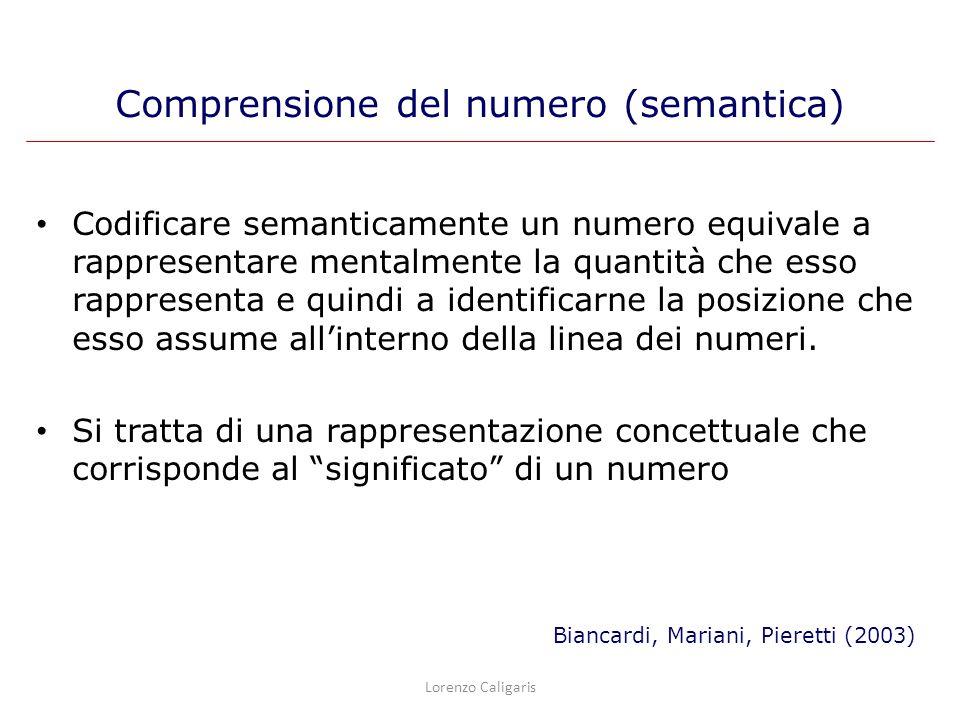 Codificare semanticamente un numero equivale a rappresentare mentalmente la quantità che esso rappresenta e quindi a identificarne la posizione che es