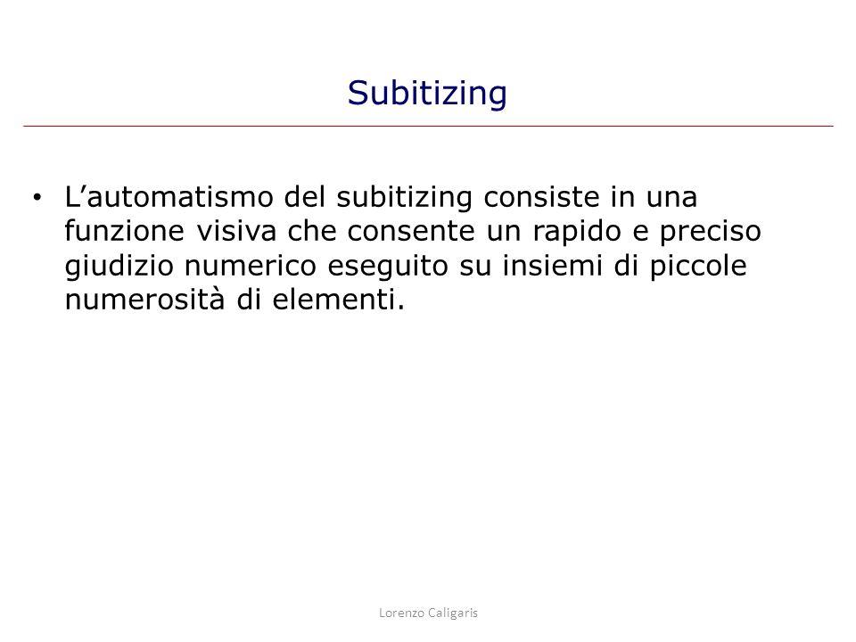 Lautomatismo del subitizing consiste in una funzione visiva che consente un rapido e preciso giudizio numerico eseguito su insiemi di piccole numerosi