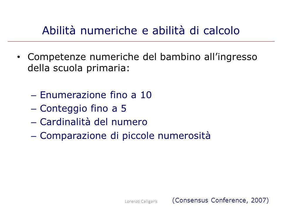 Competenze numeriche del bambino allingresso della scuola primaria: – Enumerazione fino a 10 – Conteggio fino a 5 – Cardinalità del numero – Comparazi