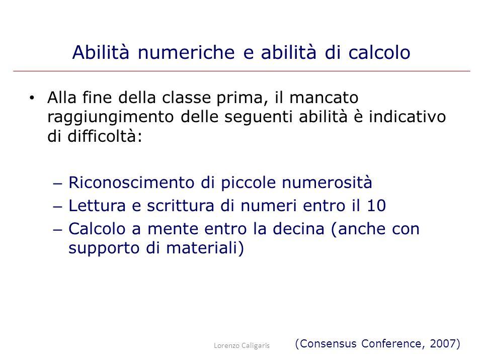 Alla fine della classe prima, il mancato raggiungimento delle seguenti abilità è indicativo di difficoltà: – Riconoscimento di piccole numerosità – Le