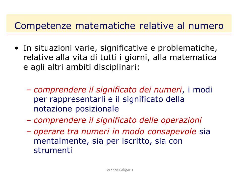 Competenze matematiche relative al numero In situazioni varie, significative e problematiche, relative alla vita di tutti i giorni, alla matematica e